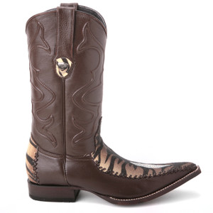 Wild West Brown Genuine Tiger Stingray Boots