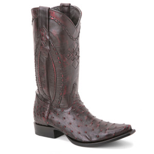 Wild West Black Cherry Genuine Ostrich Boots