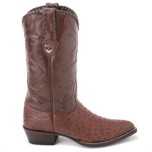 Wild West Brown Genuine Ostrich Skin Boots