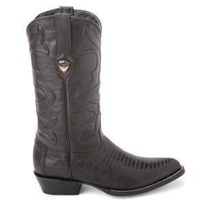 Wild West Black Genuine Teju Lizard Skin Boots