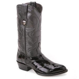 Wild West Black Genuine Eel Skin Boots