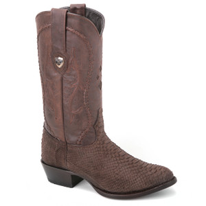 We are sure you won't stop flaunting these genuine python skin boots in black and brown from Wild West. The pair has a dual tone composition and a J-toe.