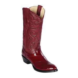 Los Altos Burgundy Genuine Eelskin Round Toe Boots