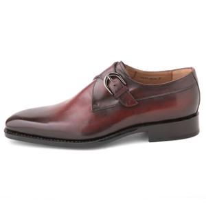 Ugo Vasare Edward Burgundy Genuine Leather Monkstraps