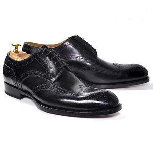 Ugo Vasare Handh Black Burnished Leather Wingtip Brogue