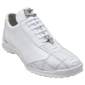 Belvedere Paulo White Genuine Ostrich & Calfskin Men's Sneakers