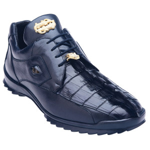 Belvedere Vasco Night Blue Crocodile & Calfskin Sneakers