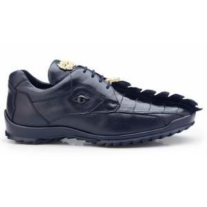 Belvedere Vasco Night Blue Crocodile & Calfskin Sneakers