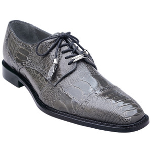 Belvedere Batta Gray Genuine Ostrich Cap-toe Men's Lace-up Shoes