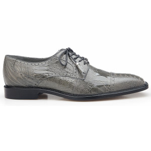 Belvedere Batta Gray Genuine Ostrich Cap-toe Lace-ups