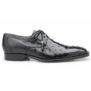 Belvedere Isola Black Genuine Ostrich Skin Lace-ups