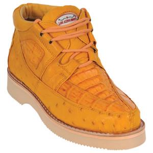 217f973ba8a Los Altos Brown Caiman & Ostrich Skin Casual Sneakers