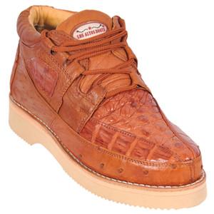 Los Altos Cognac Caiman & Ostrich Skin Casual Sneakers