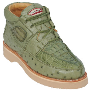 Los Altos Green Caiman & Ostrich Skin Casual Sneakers