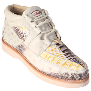Los Altos Natural Caiman & Ostrich Skin Casual Sneakers