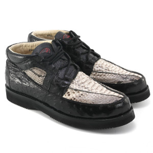 Los Altos Natural & Black Python & Ostrich Skin Sneakers