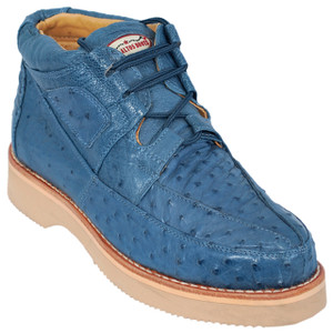 Los Altos Blue Jean Full Ostrich Skin Casual Sneakers