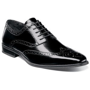 Stacy Adams Tinsley Black Buffalo Leather Oxfords
