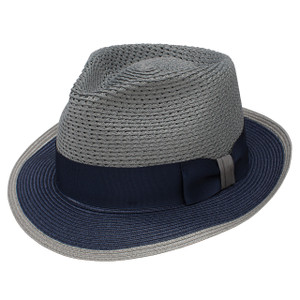 Dobbs Torero Gray & Navy Vented Crown Milan Straw Hat