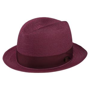 Dobbs Parker Burgundy Florentine Milan Straw Hat