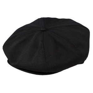 Dobbs Wellington Black Poly Knit Gatsby Cap