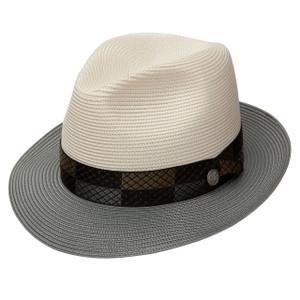 Stetson Andover Ivory & Gray Florentine Milan Straw Hat