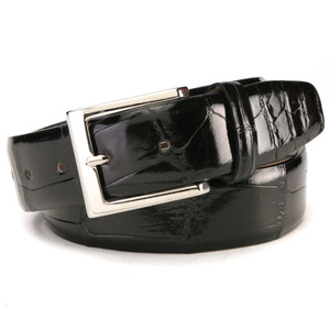 Fennix Black Genuine Body Alligator Dress Belt