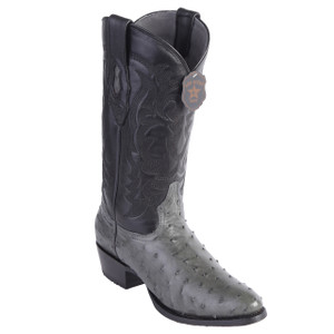 Los Altos Gray Genuine Ostrich Round Toe Boots