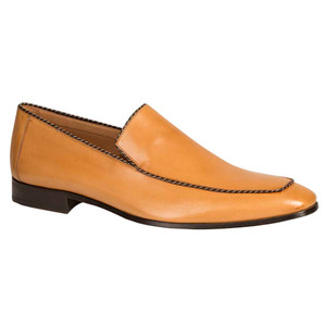 Mezlan Brandt Camel Calfskin Leather Dress Slip-ons