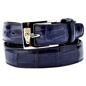 Belvedere Navy Genuine Alligator Dress Belt