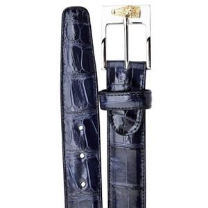 Belvedere Navy Genuine Alligator Dress Belt