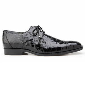 Belvedere Lago Black Genuine Alligator Oxfords
