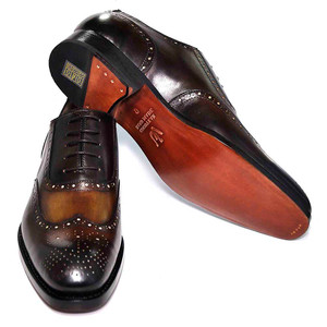Ugo Vasare Handh Cognac Burnished Leather Wingtip Oxfords