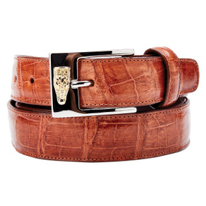 Belvedere Cognac Genuine Alligator Dress Belt