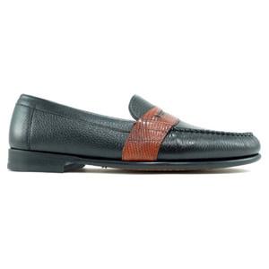 Alan Payne Wellesley Black & Cognac Deerskin Loafers