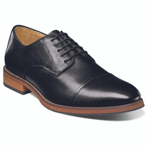 Florsheim Black Smooth Leather Cap Tor Oxfords
