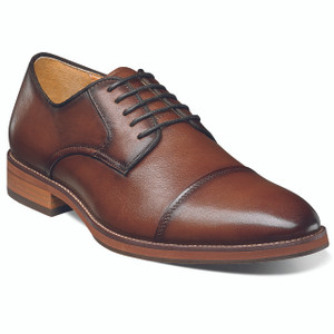 Florsheim Cognac Smooth Leather Cap Tor Oxfords