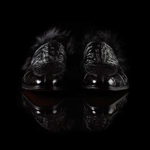 Mauri Romeo Black Hornback & Fur Slip-ons