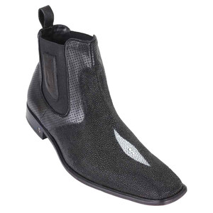 Vestigium Black Stingray Single Stone Ankle Boots
