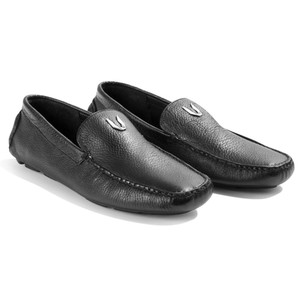 Vestigium Black Genuine Grizzly Leather Loafers