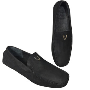Vestigium Black Genuine Nubuck Leather Loafers