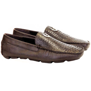 Vestigium Brown Genuine Python Driving Loafers