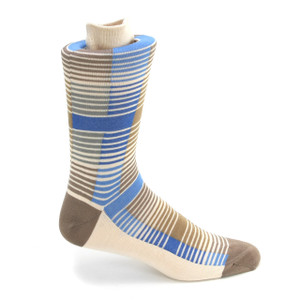 Tallia Blue & Cream Multicolor Stripped Socks