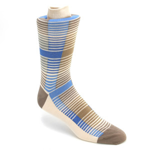 Tallia Blue & Cream Multicolor Stripped Socks