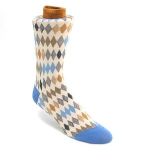 Tallia Taupe & Blue Multicolored Printed Socks