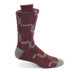 Tallia Burgundy & Black Patterned Multi-toned Socks