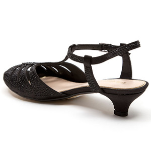 Lady Couture Betty Black Kitten Heel Sandals