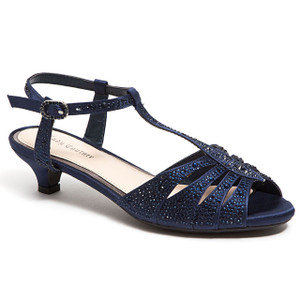 Lady Couture Betty Navy Kitten Heel Sandals
