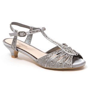 Lady Couture Betty Pewter Kitten Heel Sandals