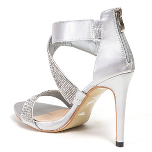 Lady Couture Britney Silver Twisted Rhinestone Heels